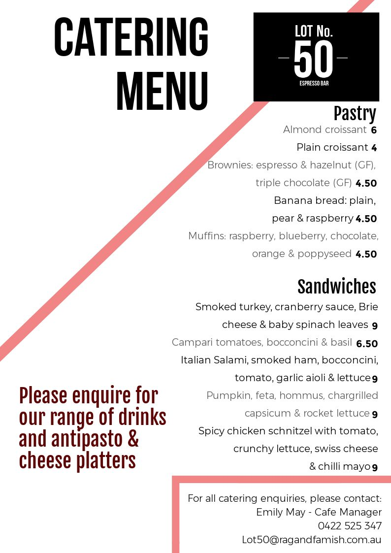 Lot 50 Catering Menu 2.